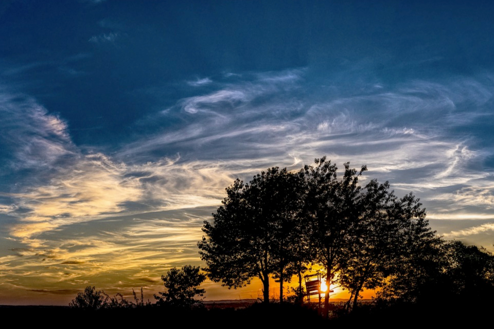 Landscape silhouette and sunset
